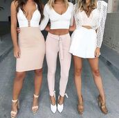 top,white top,white crop tops,plunge v neck