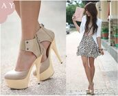 shoes,pumps,yellow,nude,ankle strap,skirt,tank top,blouse,high heels,cute high heels,wishies^^i luv this shoes