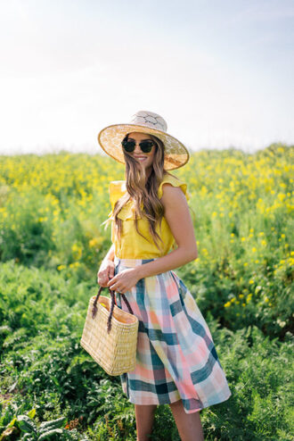 gal meets glam blogger top skirt dress shoes hat bag sunglasses yellow top raffia bag summer outfits spring outfits