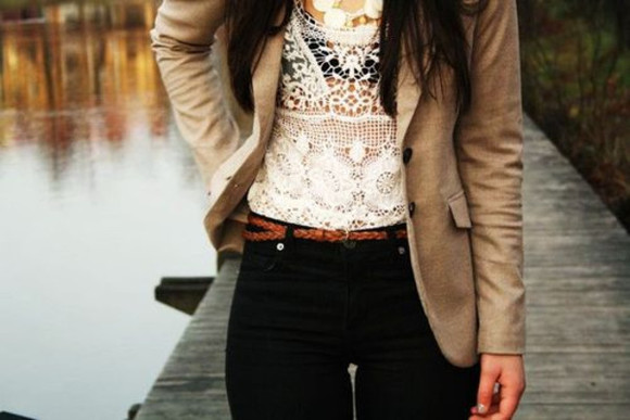 blouse lace white blazer fall outfits fall outfits fashion cute classy sophisticated high waisted jeans jacket blazers bag