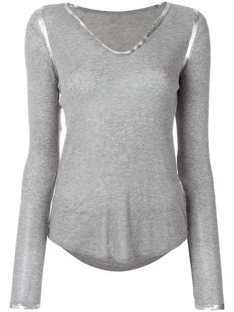 Zadig & Voltaire top metallic women grey