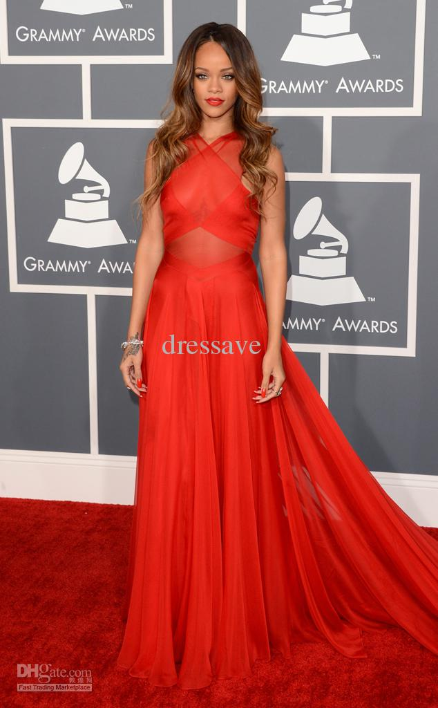 Cheap 2014 Evening Dresses - Discount 2014 Sexy Celebrity Dresses High Neck Red Chiffon Rihanna the 2013 Grammy Awards Prom Gown S52 Online with $93.89/Piece | DHgate