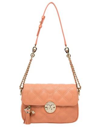 quilted bag shoulder bag leather light pink light pink