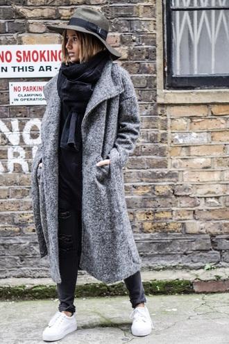 coat grey grey coat winter outfits coats and jackets grey hat long grey coat white sneakers blogger black scarf black pants