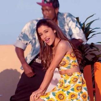 skirt sunflower ariana grande blouse