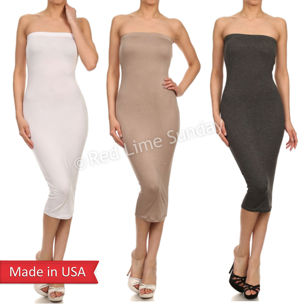 Trendy Sexy Solid Color Bodycon Tube Bare Top Fitted Lightweight Midi Dress USA