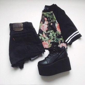shirt black t-shirt floral shirt shorts