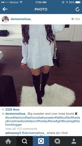 shirt thigh high boots sweater oversized sweater purse fashion curls outfit