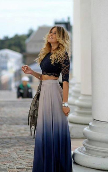 ombre skirt skirt clothes blouse dip dye skirt blue dip dye beautiful skirt blue blouse lace blouses blue ombré maxi