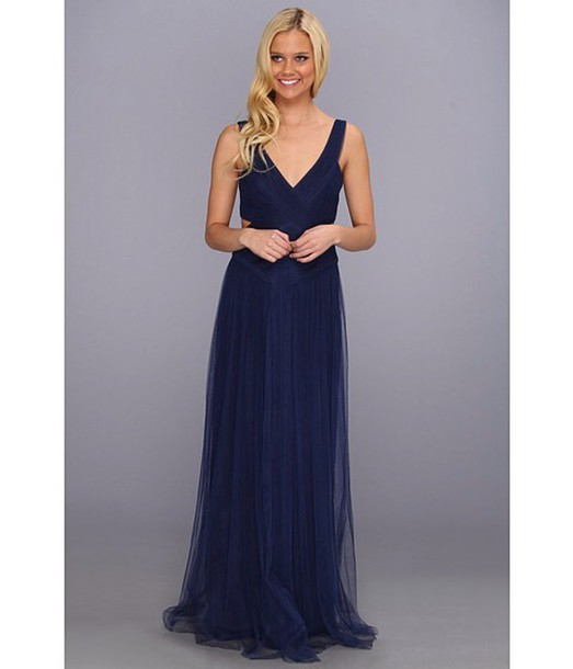 Dress: bcbgmaxazria, navy dress, evening dress, prom dress, long ...