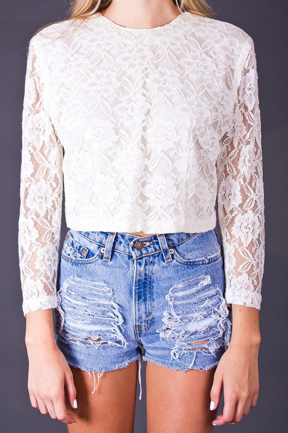 80s Vintage Cropped Lace Blouse in White