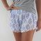 Pom pom shorts, blue & white print trendy beach shorts - 70's inspired gym shorts