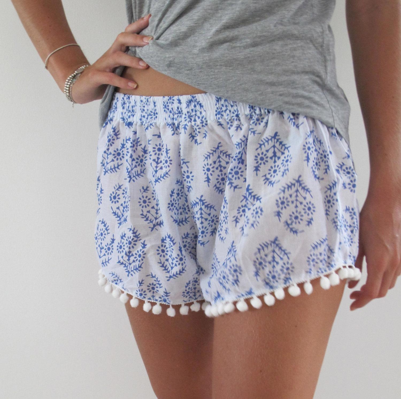 Pom pom shorts, blue & white print trendy beach shorts