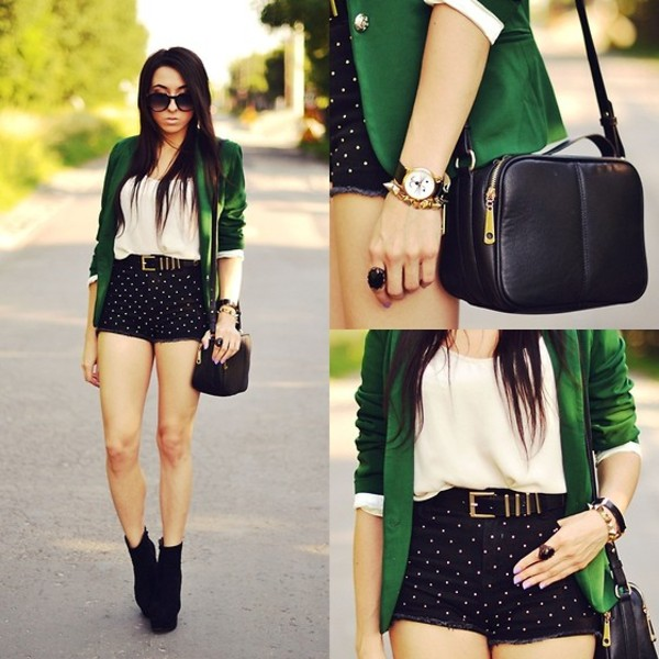bag jewelry blazer shorts stylish jacket blouse belt
