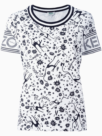 t-shirt shirt women white cotton print top