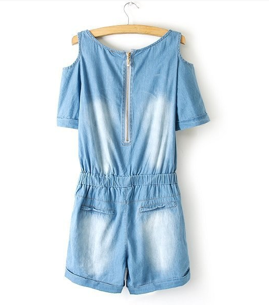 Off-Shoulder Leisure Denim Jumpsuits