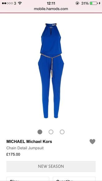 jumpsuit designer blue gold chain halter neck
