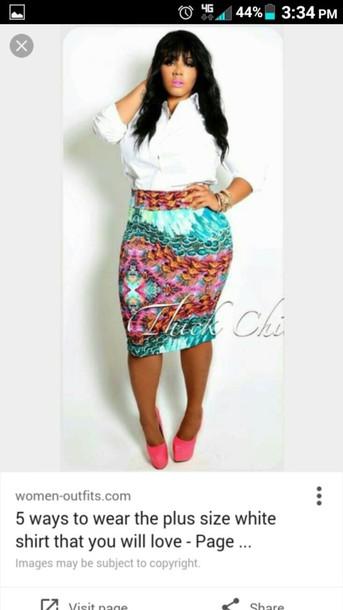 skirt plus size bodycon skirt multicolor
