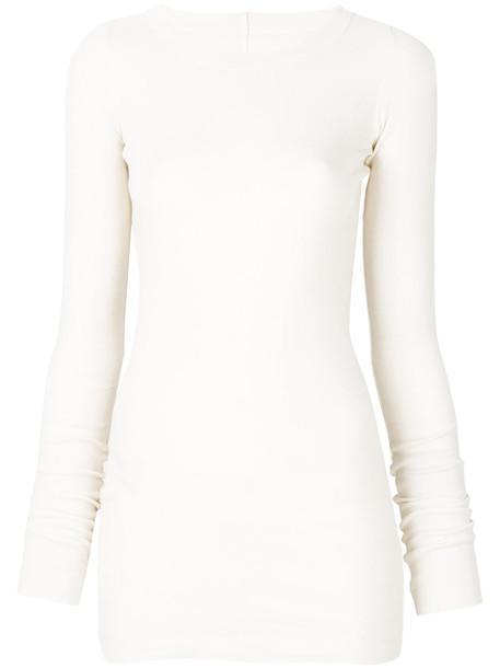Rick Owens t-shirt shirt t-shirt long women nude cotton top