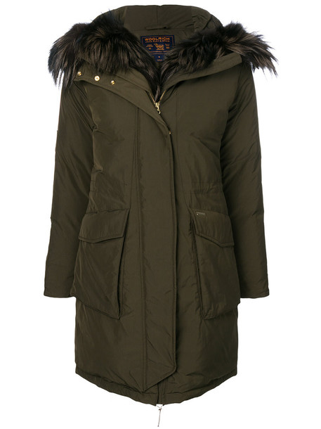 Woolrich parka fur fox women green coat