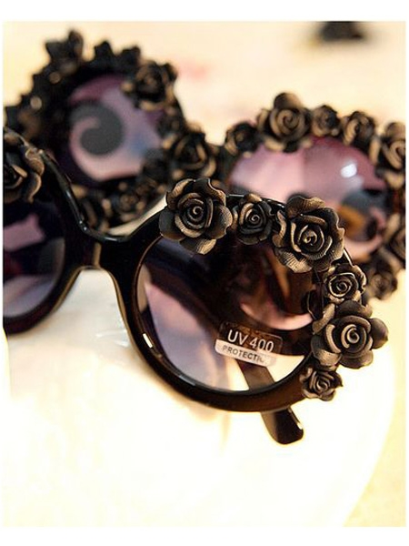 Black DIY Sunglasses With Flowers | Choies