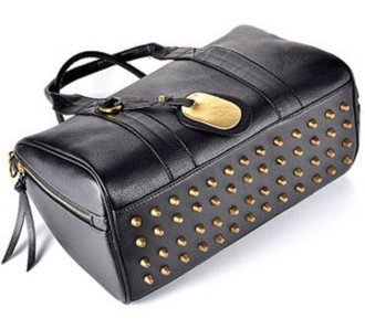 bag black stud studded gold golden bottom tote bag handbag fashion