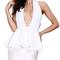 Halter backless plunge peplum bandage dress white