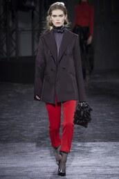 jacket,nina ricci,pants,red pants,fall outfits,fashion week 2016,paris fashion week 2016,runway,blazer,purse