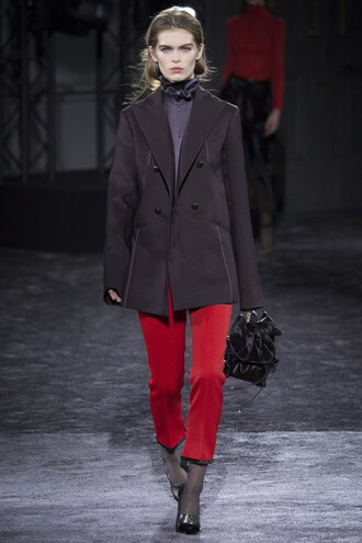 jacket nina ricci pants red pants fall outfits fashion week 2016 paris fashion week 2016 runway blazer purse