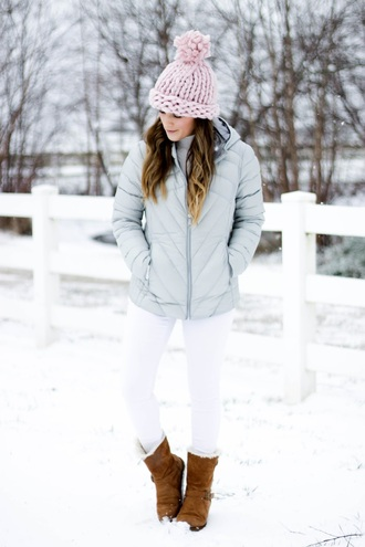 thedaintydarling blogger jacket sweater hat jeans beanie winter outfits blue jacket boots winter boots