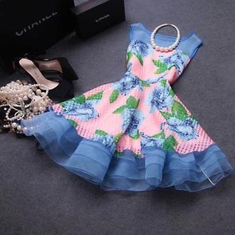 dress blue dress white dress blue flowers dress tulle skirt