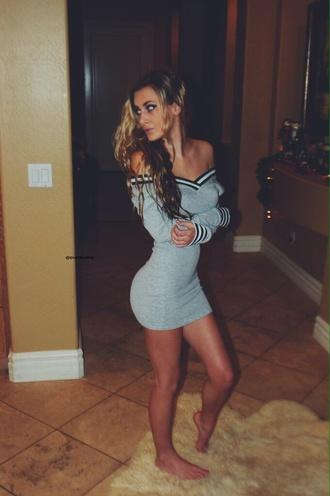 dress gray sweater dress sweater off the shoulder grey dress