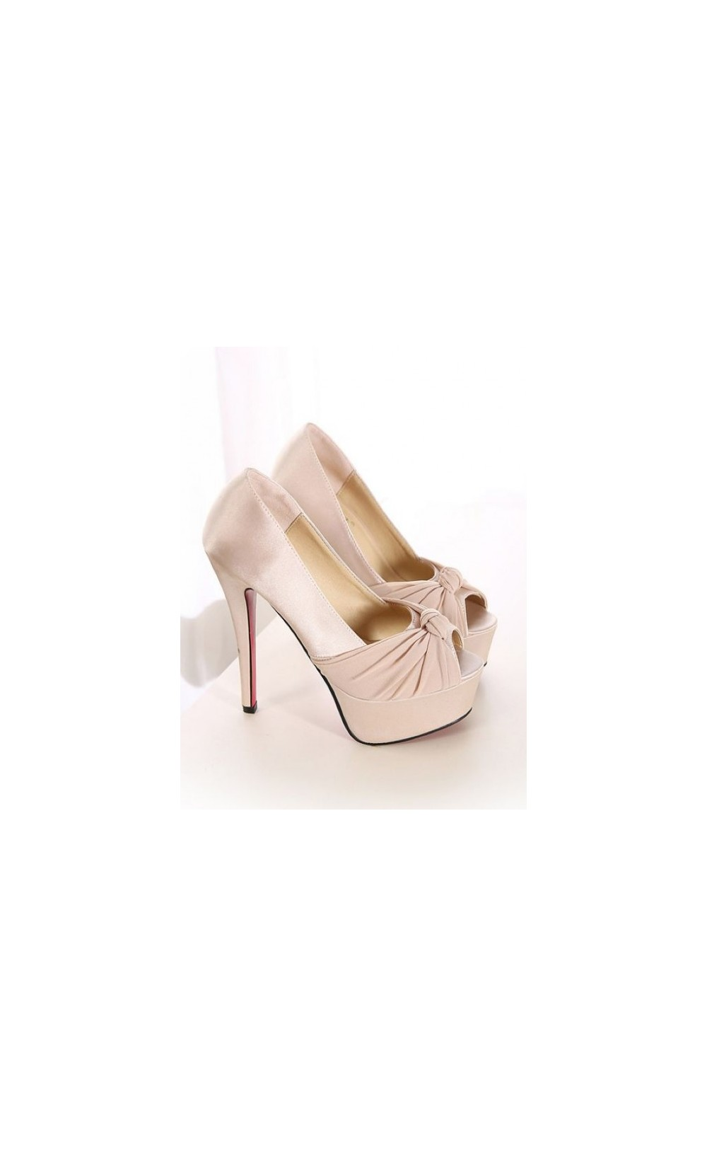 Luxury solid peep toe high heeled shoe