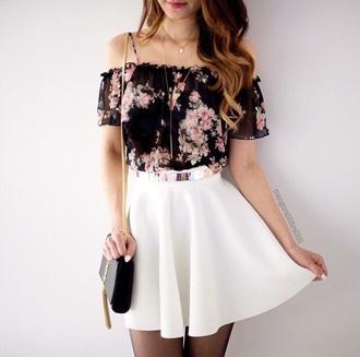 top floral crop top blouse dress black pink summer floral frilly straps shoulder floaty