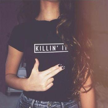 European style women t shirt black white killin it fashion american t shirt woman tee tops street hippie punk womens tshirt