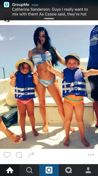 swimwear blue and white tie dye bandeau ariel winter