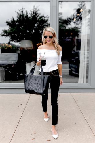 krystal schlegel blogger top jeans sunglasses underwear handbag black bag off the shoulder top black pants fall outfits
