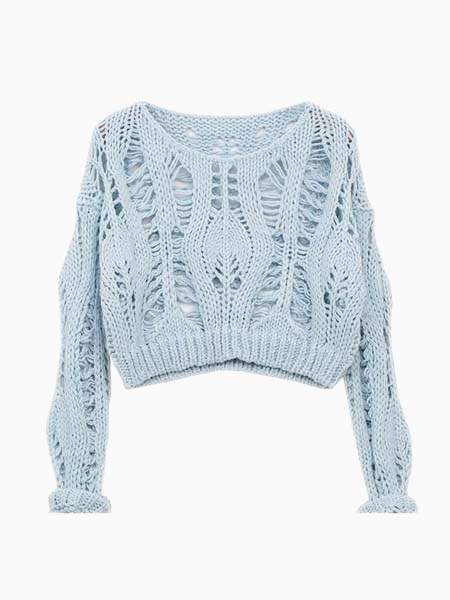 Crop Knit Sweater With Hollow Out | Choies