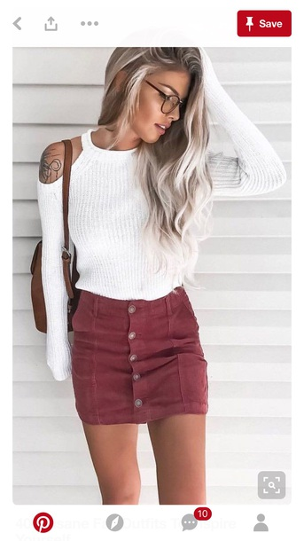 skirt fall outfits sweater white sweater nitted jumper white knitted cold shoulder white sweater denim skirt knitted sweater knitted cardigan blouse white top red skirt black