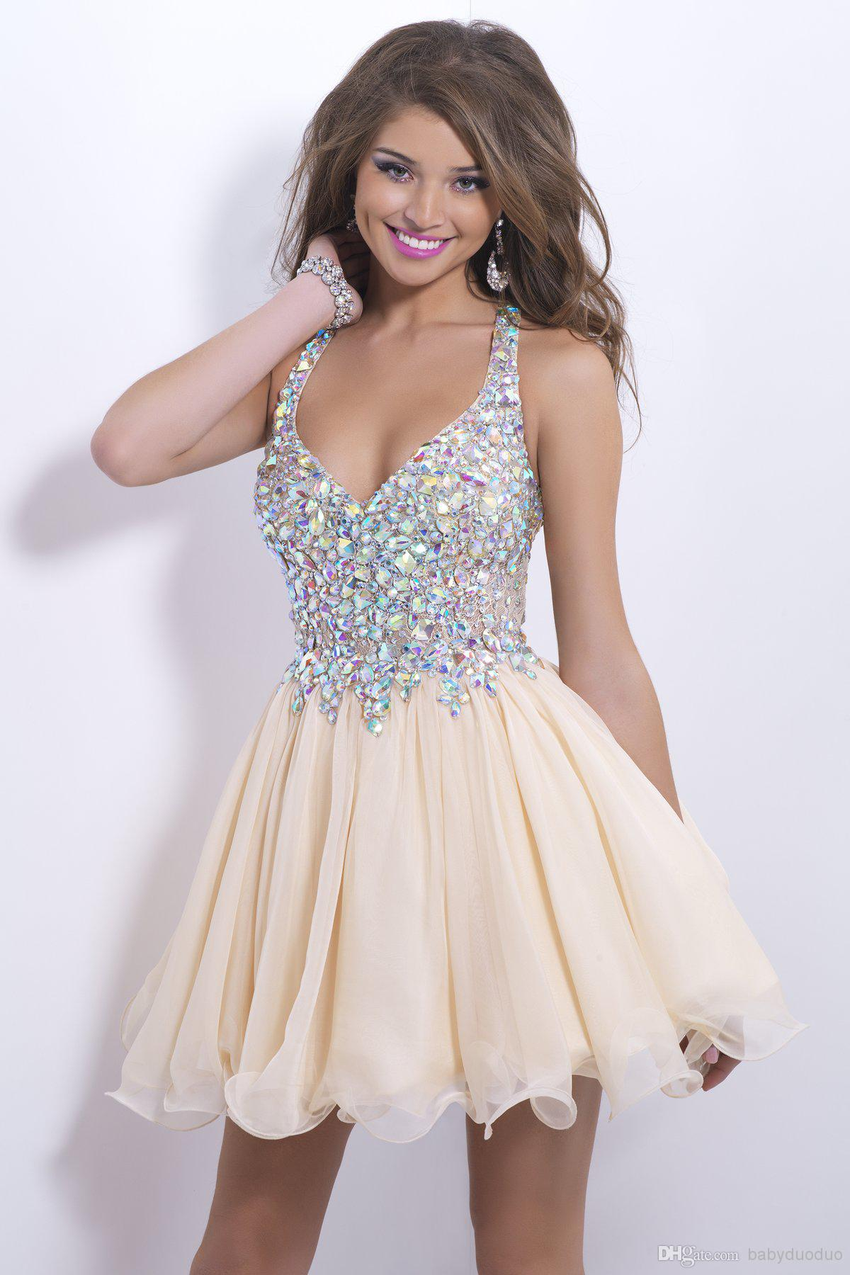 Prom Dresses Under 100 - Discount Blush Short Prom 9857 Crystals V ...