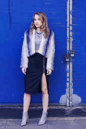 at fashion forte,blogger,jewels,edgy,fur coat,cropped,zip,slit skirt,boots,winter outfits,zipped skirt,zip-up skirt