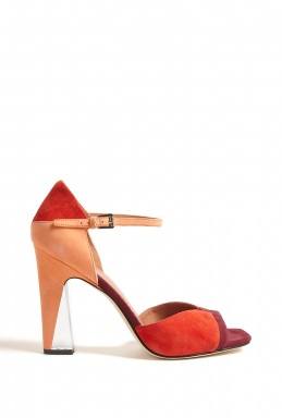 Red multi suede peep toe high pump with lucite detail on hee