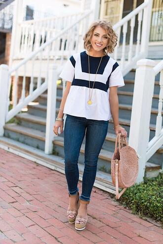 something delightful blogger top jeans shoes bag jewels dress wedges round bag spring outfits