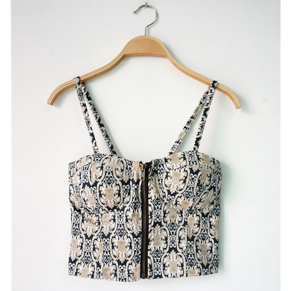 Retro Print Crop Top at Style Moi