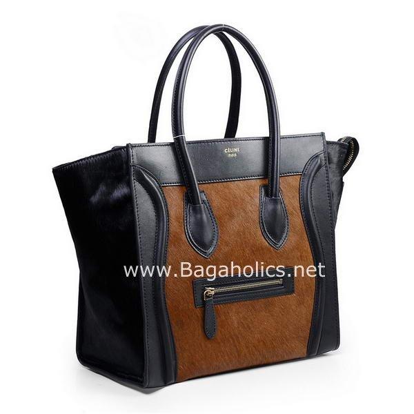 91eda3beb378 Celine Mini   Medium Luggage Tote Bag - Brown Pony Hair   Black ...