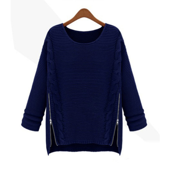 zipper sweater blue fall sweater