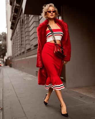 shoes black pumps skirt top jacket bag sunglasses