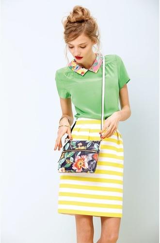 skirt yellow and white striped skirt yellow and white stripe skirt