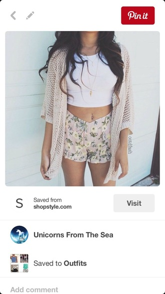 top shorts floral flowered shorts crop tops white crop tops cardigan sweater