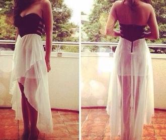 dress high low dress black and white dress cutout back